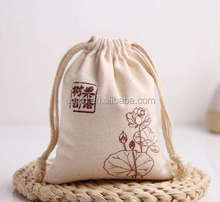 Small Bag 100% Cotton Customized Fabric Bag Canvas Drawstring Bags
