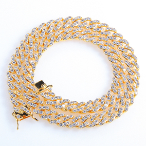 Finish Men's 8mm Heavy Iced Zircon Cuban Link Necklace Bracelet set Hip hop Jewelry Gold Silver Chain
