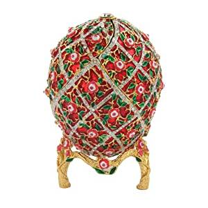 Red Imperial Faberge Style Floral Egg With Swarovski Elements Crystals Trinket Jewelry Pill Box