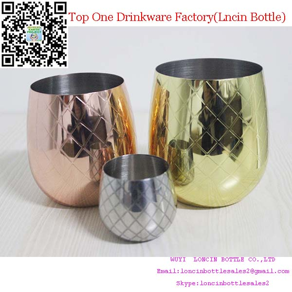 Food Grade Quality Stainless Steel 18/8 Pineapple Mug Cup,Pineapple Shaped Drinking Glass Cups
