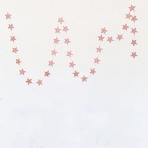 Room Decorations 4m Champagne Glitter Rose Gold Star Paper Garland