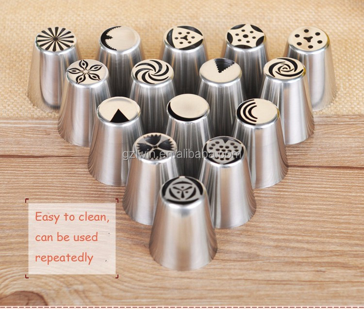 Amazon hot sales Stainless steel russian pastry nozzles piping icing tips sets cake decorating tool