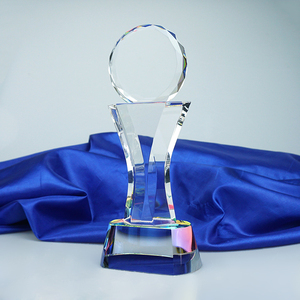 Classic pure k9 crystal trophy peace with Colorful base for individual awards