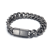 RunBalance New Fashion Mens Stainless Steel Magnetic Clasp Antique Silver Chain Bracelet