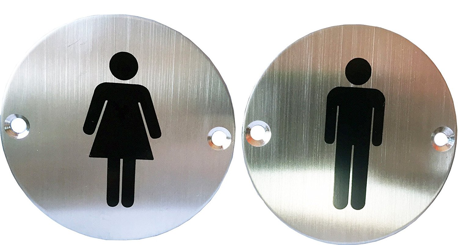 "Classy Unique Business Restaurant Men Women Restroom Toilet Signs Set, Stainless Steel, 3"" Diameter"