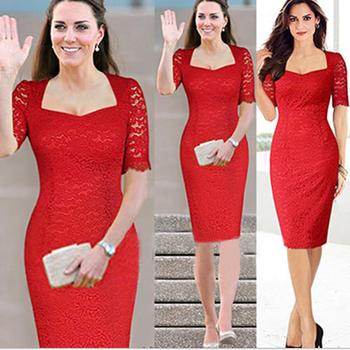 Venta Al Por Mayor De Moda De Las Mujeres Del Diseñador Elegante Vestido Media Manga Delgado Rojo De Encaje De La Boda Vestido Para Dama Buy Vestido
