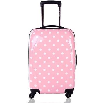 Cute Pink Girls Polka Dot Travel Rolling Pc Hard Luggage - Buy ...