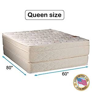 """Dream Solutions USA Beverly Hills Firm Foam Encased Eurotop (Pillow Top) Mattress and Box spring set (Queen 60""""x80""""x13"""") Sleep System with Enhance Support- Fully Assembled, Knit Cover, Orthopedic"""