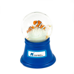 Custom home decoration mini LED light plastic animal snow globe