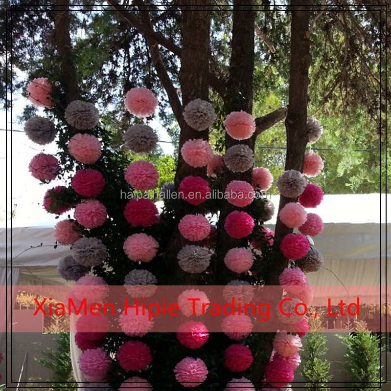 Diy Hanging Tissue Paper Flower Pom Pom Party Garland Decoration