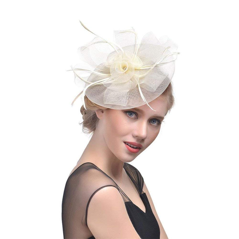 5a7827b690f Get Quotations · Simayixx New Women Flower Mesh Ribbons Feathers Headband  Cocktail Tea Party Hat Headwear