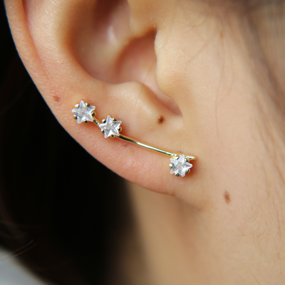 100% 925 sterling silver brass customize drop shipping three stone cute girl long ear wire star cubic zirconia earring