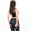 matt black PU  low waist