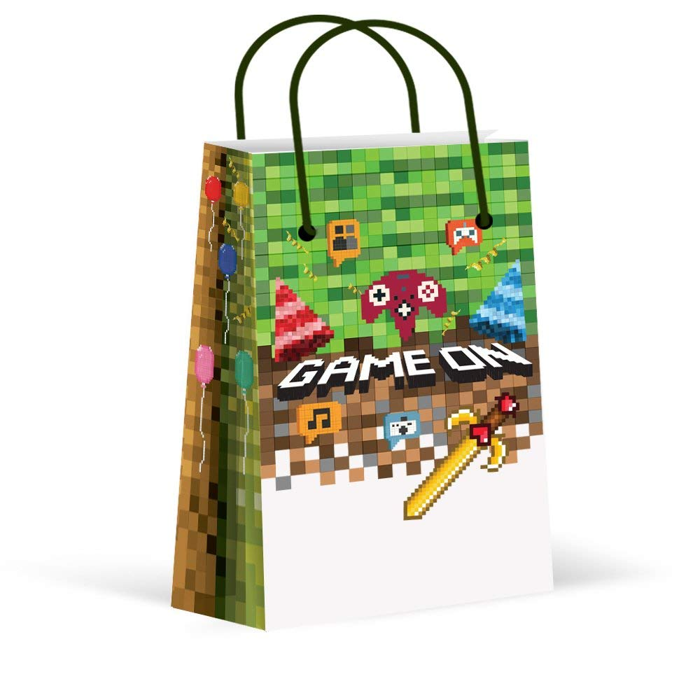 LARZN Premium Pixel Party Bags, Video Game,Treat Bags,Gamer Party, New, Gift Bags,Goody Bags, Pixel Party Favors, Pixel Party Supplies, Gamer Party Decorations, 12 Pack