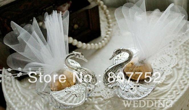 Swan Wedding Gift Return: Elegant Silver Swan Wedding Favors Candy Boxes Gift