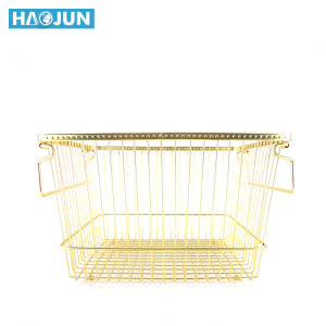 Kitchen metal gold wire rectangular vegetable fruit stackable storage basket
