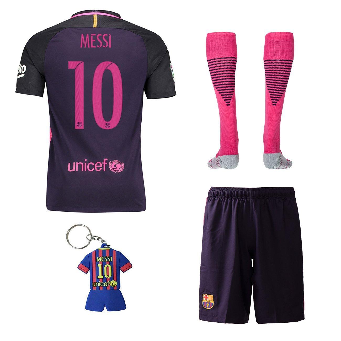 Buy 2016 2017 Barcelona Away  10 Messi Kids Soccer Wear Shorts Socks ... baf08897a