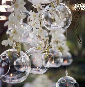 MH-12810 hanging glass orb bubble tealight candle holders wholesale glass hanging bubble