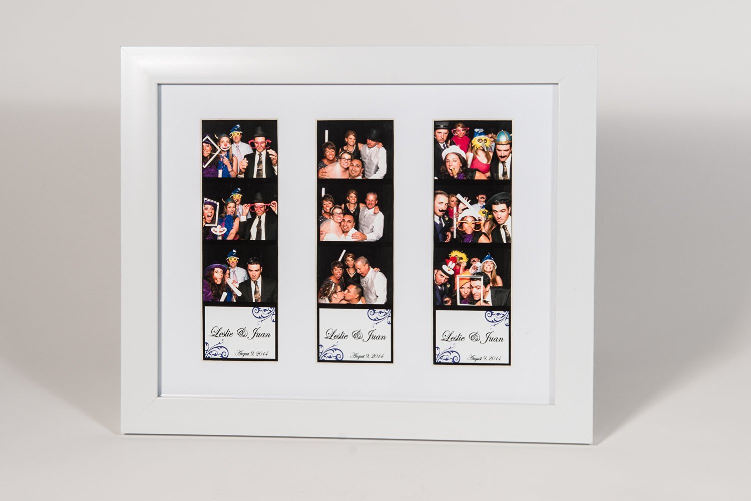 Photo Booth Frames 8 x 10 Photo Frame with mat for Three Photo Booth Pictures White 8x10 3 Pictures