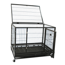 strong heavy duty square tube large dog cage with wheels for USA market