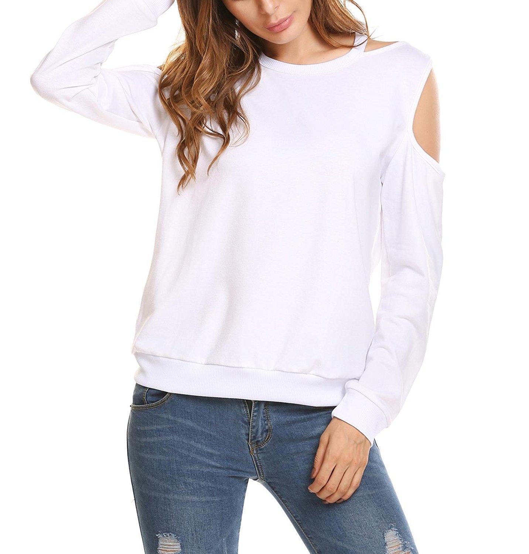 e26d7a4e22db7 Get Quotations · Zeagoo Womens Halter Neck Top Cut Out Shoulder Blouse  Sweatshirts white