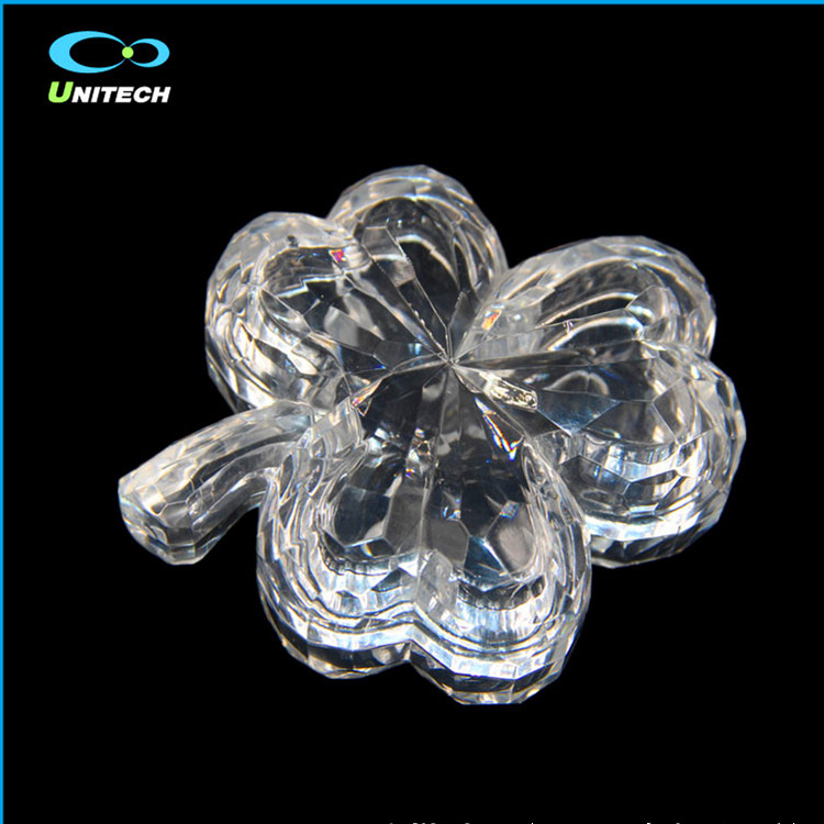 High quality flower shape transparent crystal glass jewelry box