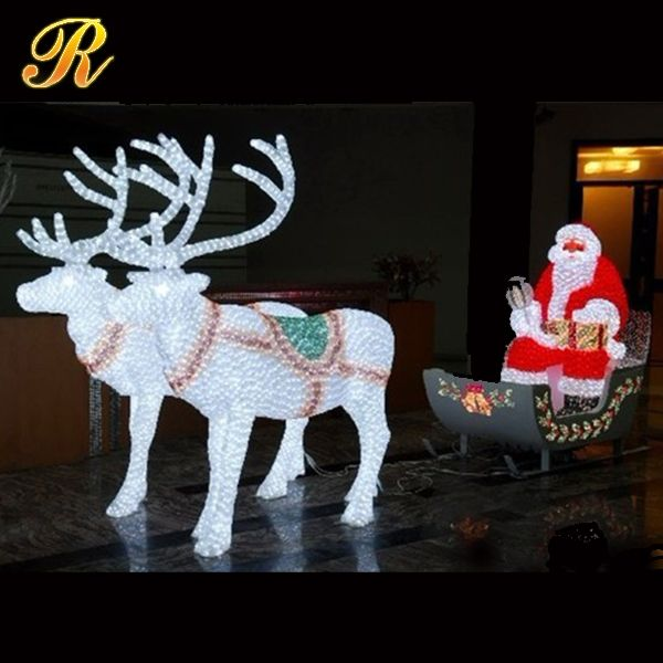 Led lighted horse carriage with santa claus for large christmas decoration