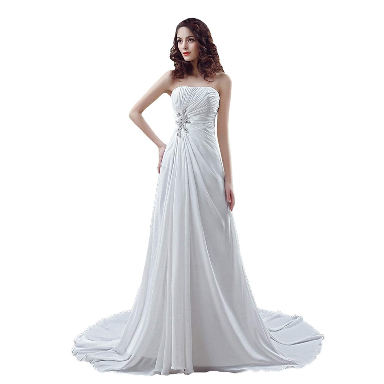 YSFS Women's Strapless Chiffon Bridal Gowns Wedding Dresses