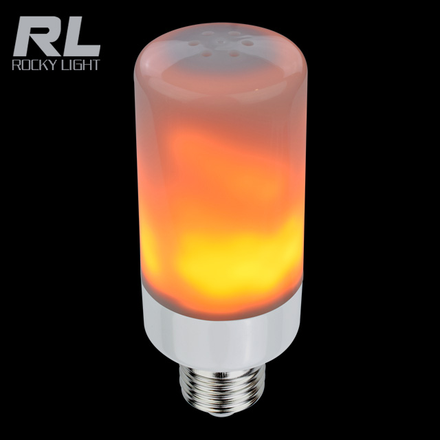 New design flicker flame light bulbs 85-265V fire color led lamp with PC vocer