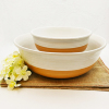 Microgroove 2 pieces solid color stoneware serving soup bowl set / ceramic cereal bowl