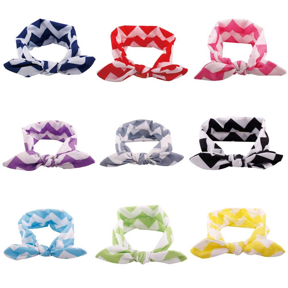 9 Pack Newborn Baby Girls Bow Knot Elasticity Headband Wave Texture Headwear Girls Baby Hair Accessories