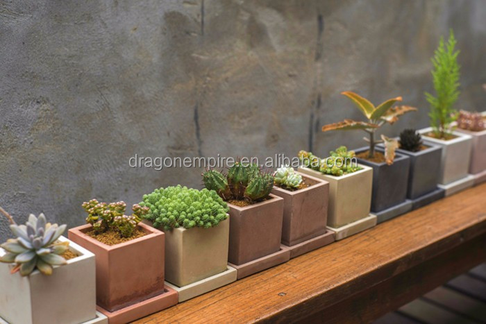 square cement succulent plants pots, square succulents planters, cement mini succulent planter box