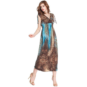 2015 fashion beautiful dye tie printed ice silk fabric ladies summer maxi dresses for women
