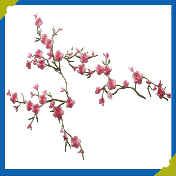 Pink Quince Sakura Flower Embroidery Iron On Towel Applique Patch
