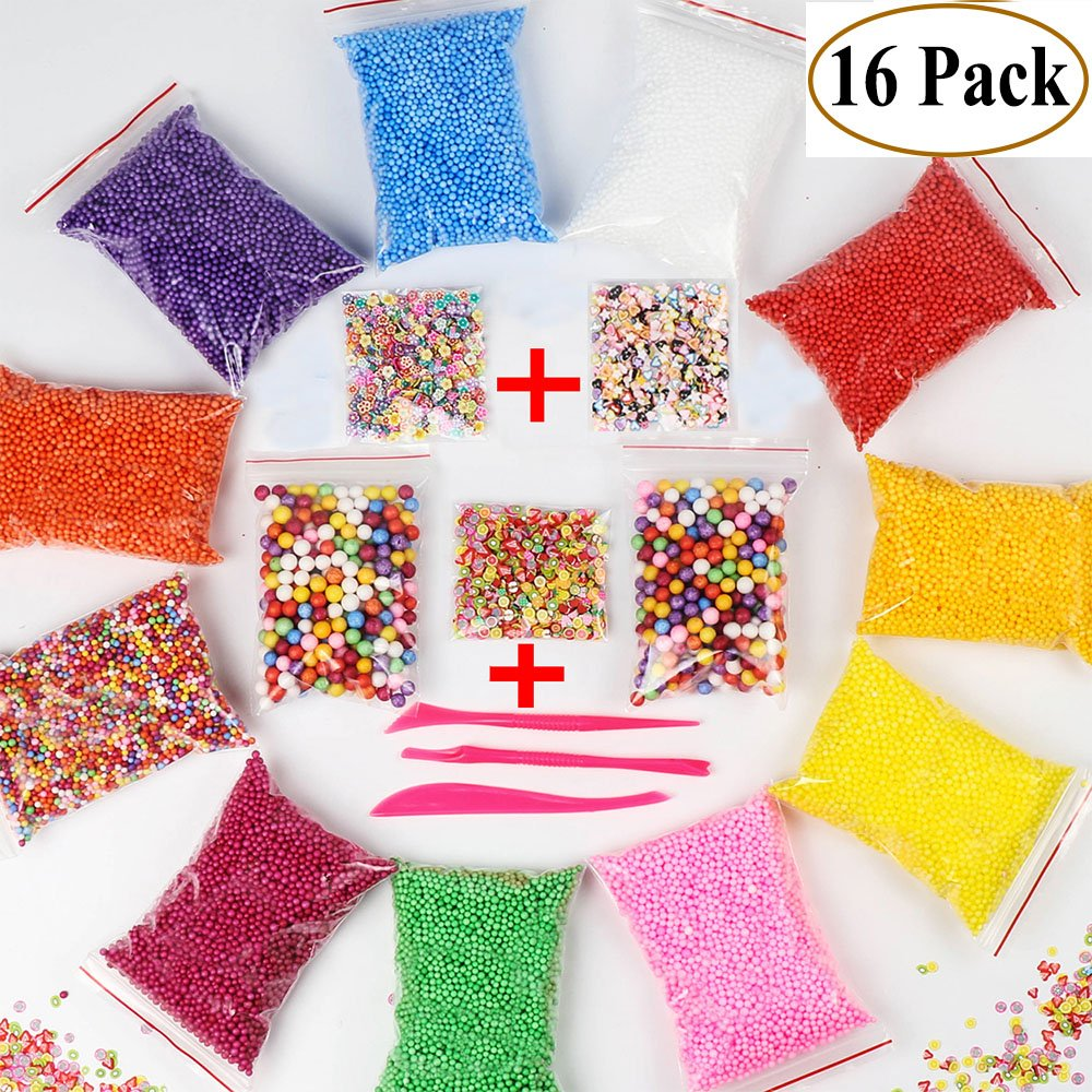 Foam Beads for Slime - Floam Beads for Slime | Foam Balls for Slime | Slime Beads Supplies Kit | Styrofoam Beads | 16 Pack 60000 pcs with +[Heart, Flower, Fruit Printed Slices]+ 3 Tools for DIY Crafts
