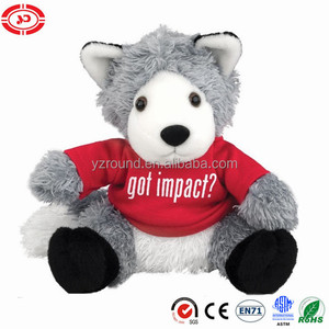 Plush stuffed sitting wolf with red coat cute CE toy