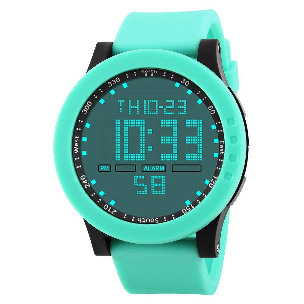 COOKI Mens Digital Sports Watches Waterproof Large Face LED Screen Military Watches and Casual Waterproof Luminous Simple Army Watch Stopwatch Alarm, Mens Watches on Sale Clearance