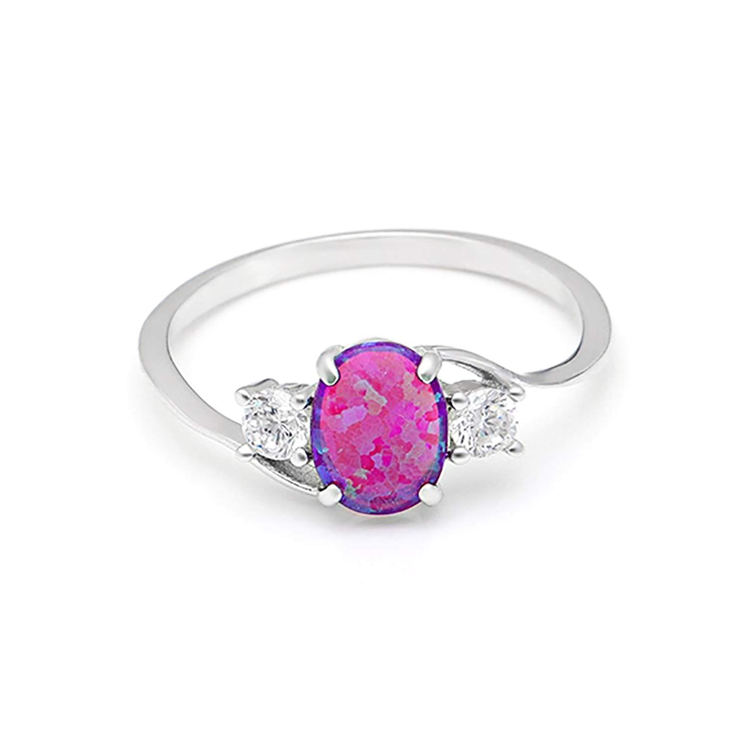 Ginger Lyne Collection Addy Purple Natural Oval Opal Sterling Silver CZ Ring