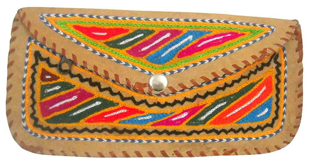 Beautiful Handmade Multi Color Embroidered 100% Pure Camel Leather Hand Purse for Ladies
