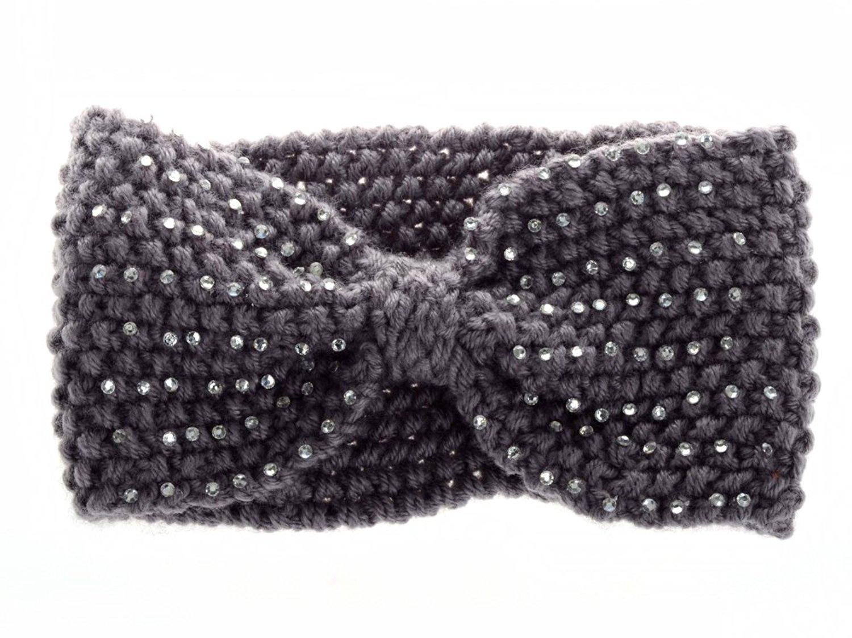 Imixlot Women's Bowknot Woolen Medium Gray Warm Headband Headwrap Earmuff Knit Crochet Rhinestone Ski Headband