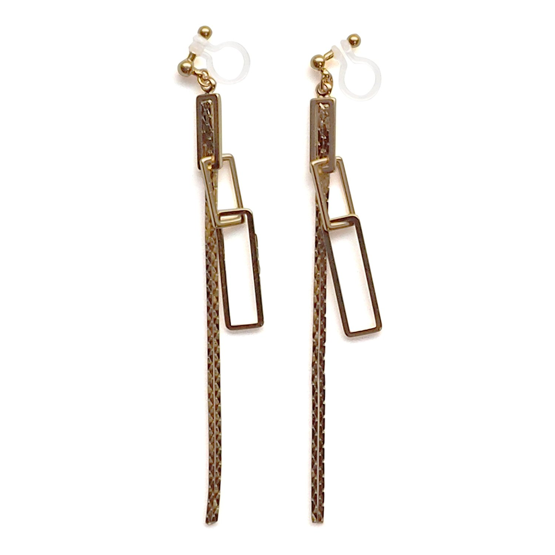 Miyabi Grace Women's Dangle Long Chain Hoops Invisible Clip On Earrings Gold tone