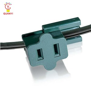 UL In Line Plastic Female Slide zip Plug SPT-1/SPT-2 Female Sockets Green for C7 C9
