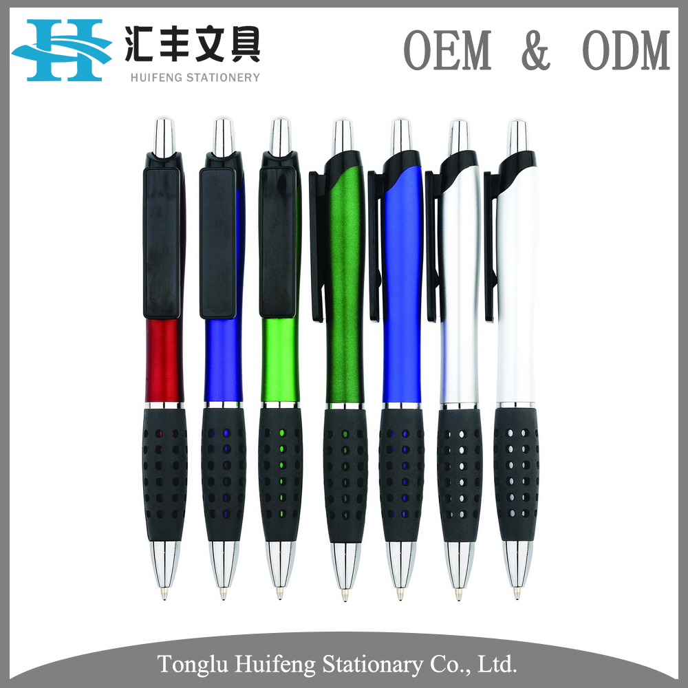 HF5212T Hot sale cheap colorful pen holder office and school stationery plastic ball pen rubber coated with custom logo