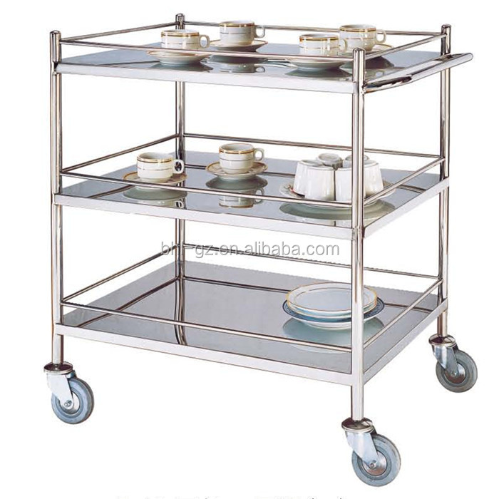 Hotel Restaurant Stainless Steel 3 Tier Drinks Serving