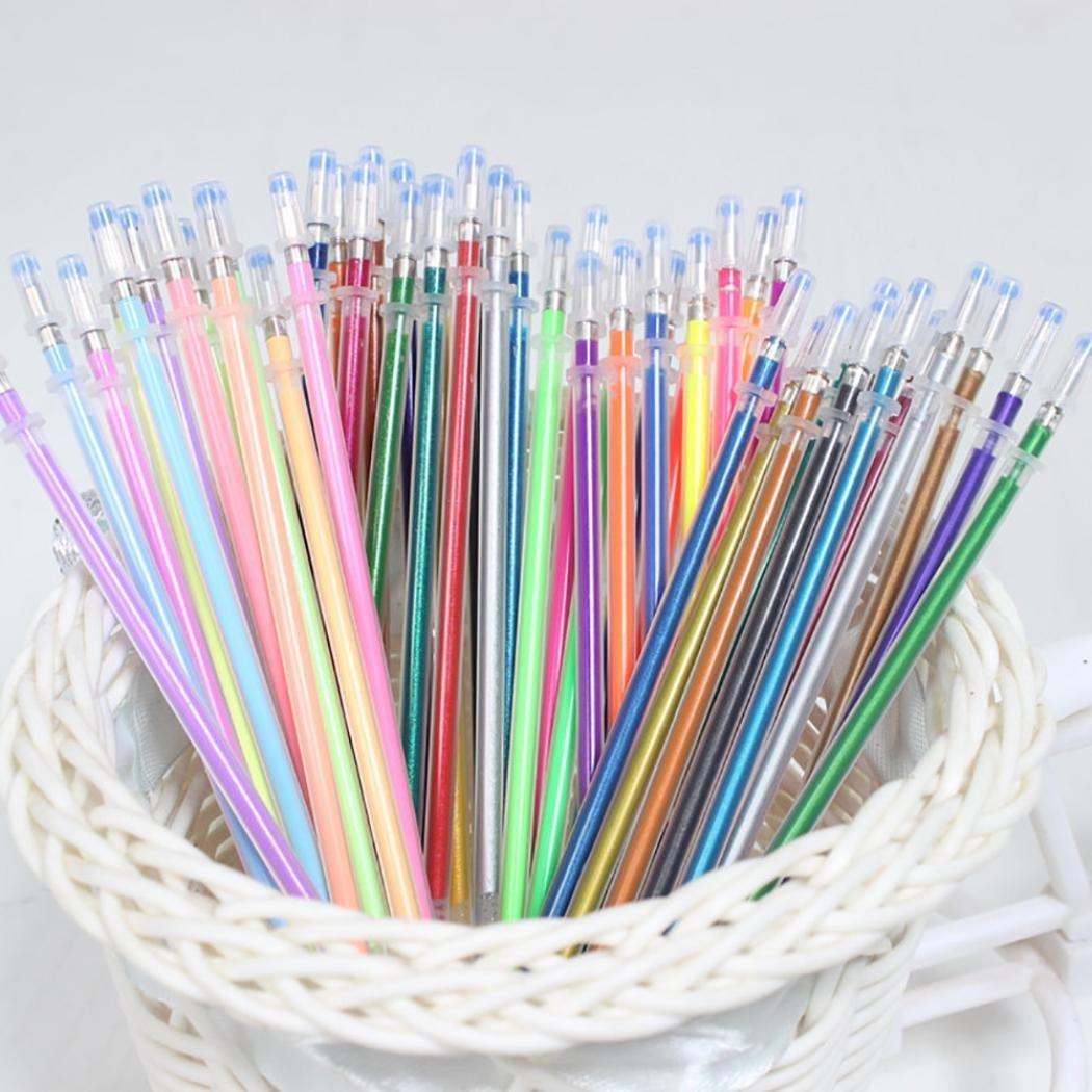 DDLbiz 60pcs 1mm Gel Pens Gel Refills Rollerball Pastel Neon Glitter Pen Drawing Colors