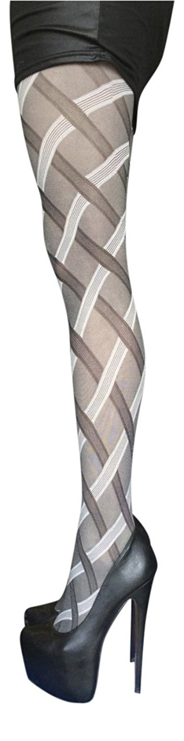 816cd49270f6b Get Quotations · Sock Snob 40 Denier Designer Cable Tights One Size 36-42  Hip, Grey Cable