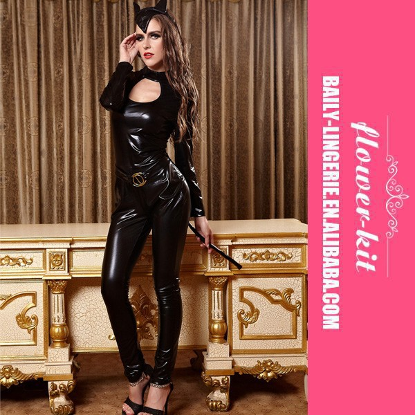 be2ea875739 Low Price Fashion Hot Erotic Sexy Black Cat Burglar Costume Catsuit Romper  Full Set Leather - Buy Sexy Black Cat Catsuit