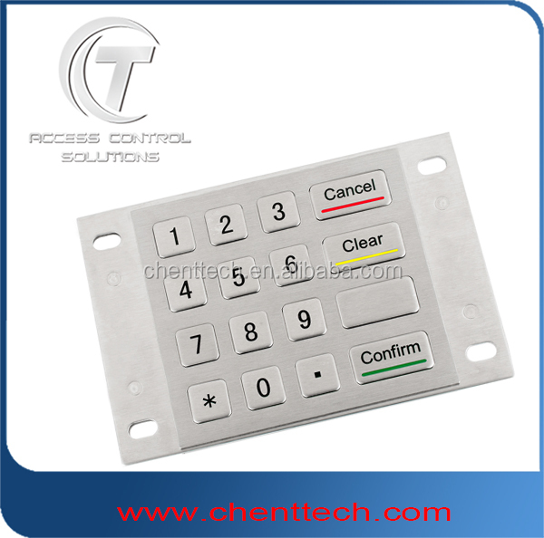 4x4 layout access control code keypad door entry metal keypad