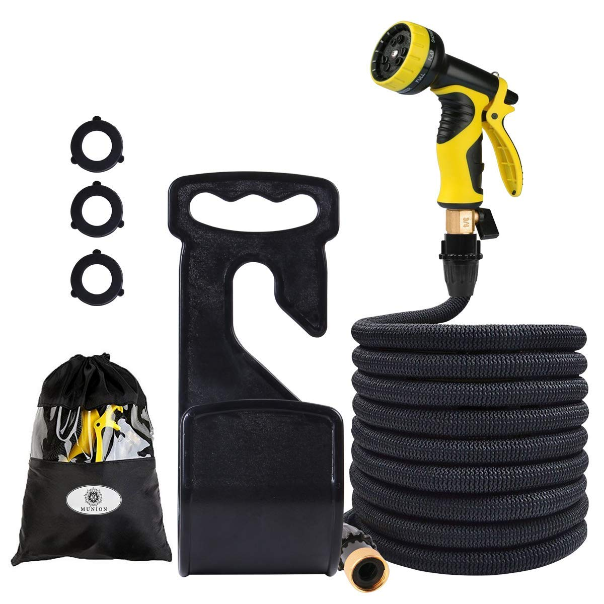 MUNION Expandable Garden Hose 75 FT Lightweight Flexible Water Hose 9 Mode Spray Nozzle High Pressure Extra Strength Fabric Double Latex Core 3/4 Solid Brass Fittings with Storage Bag Hose Holder