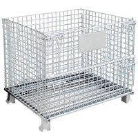 Warehouse industrial galvanized steel folding collapsible rolling metal storage cage